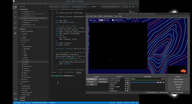 La ventana de VSCode está ennegrecida en OBS, pero mi cursor todavía está visible ...
