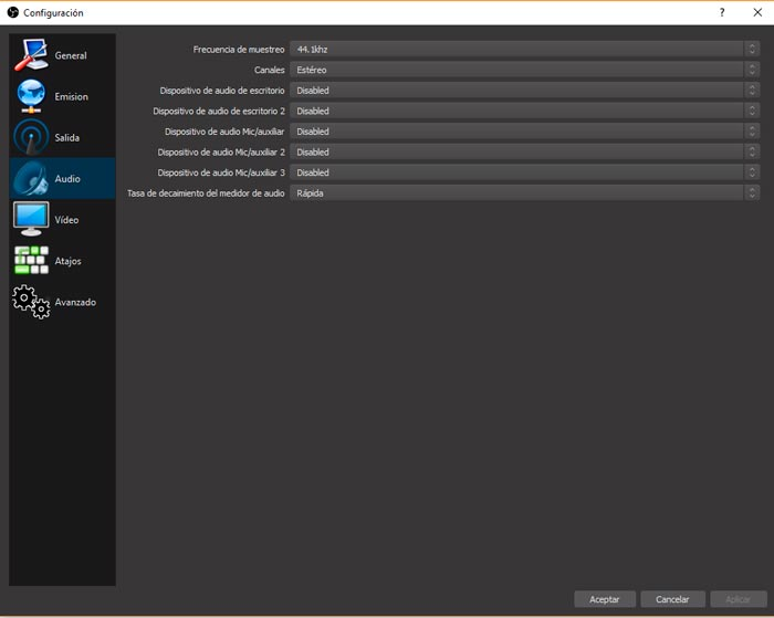 Configurar el audio en obs windows