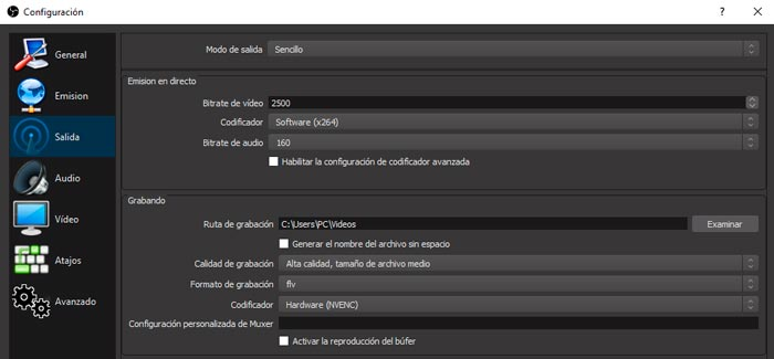 Configurar video en obs para windows
