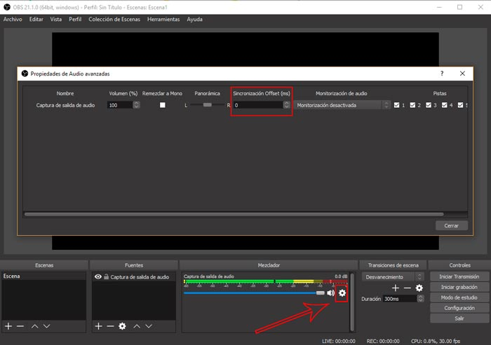 Como sincronizar el audio en obs studio