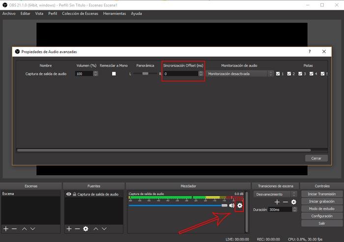 Como sincronizar el audio en obs studio